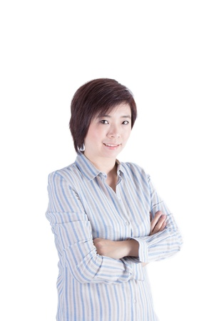 asian woman cross her arm on white background photo