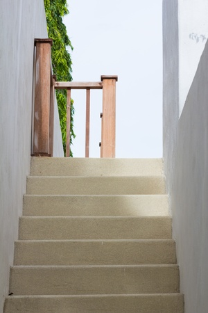 sandstone stair for decorate near the pool photo