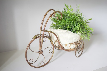 beautiful vintage brass bicycle pot  photo