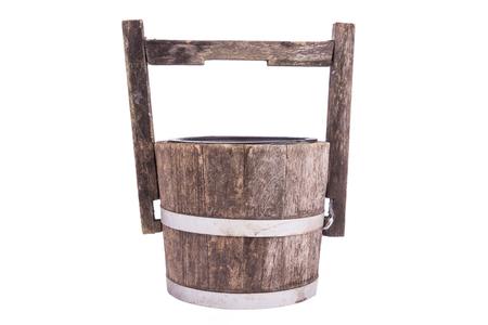 empty wooden bucket or wooden flowerpot photo