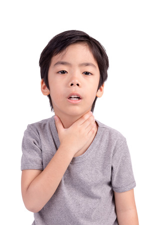 Child have sore throat sick. Isolated on White Background photo