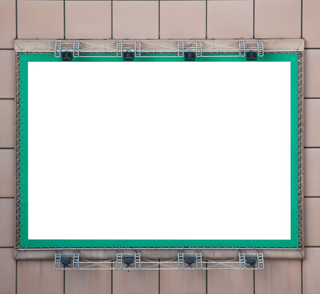green blank billboard with spotlight for your text or picture photo