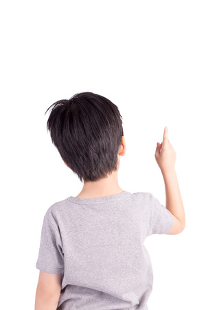 Rear view of a school boy over white Stock Photo