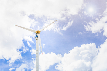 Eco power, wind turbines with blue sky photo