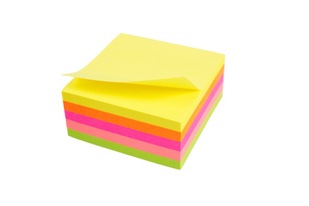 five color block of post-it notes isolated on white background Stock Photo