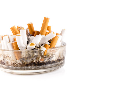 fag: A dirty ashtray with cigarette ash and butts
