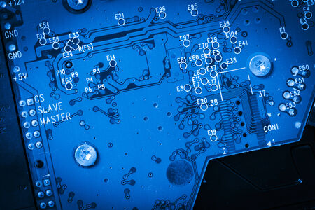 modern blue circuit harddisk board Stock Photo