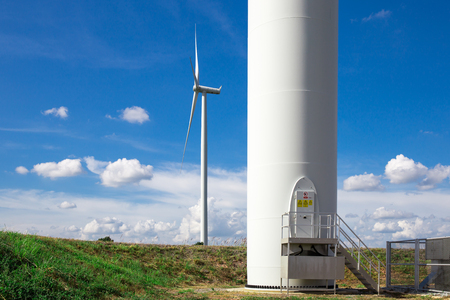 vane: Wind Turbine Farm Stock Photo