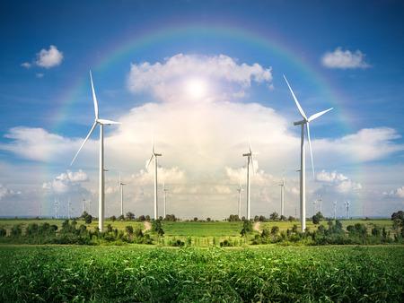 energy production: Wind Turbine Farm with Blue Sky