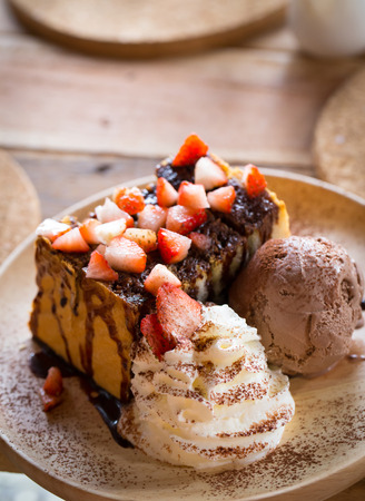 Strawberry Chocolate Honey Toast with Ice Cream photo