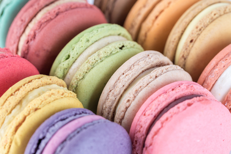 french bakery: colorful macarons with vintage pastel filtered
