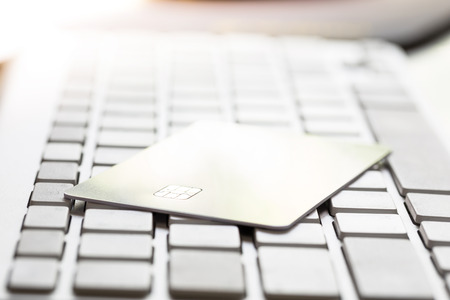 ec: Electronic Chip on Credit card : Concept of online shopping (Selective Focus)