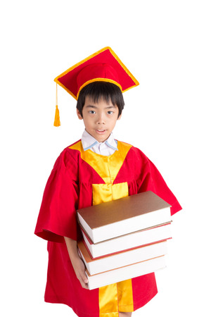 cap and gown: Cute Little Boy Wearing Red Gown Kid Graduation With Mortarboard Isolated On White Background
