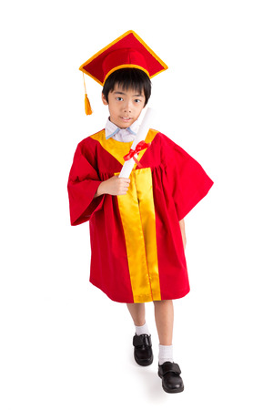 graduation cap and diploma: Cute Little Boy Wearing Red Gown Kid Graduation With Mortarboard Isolated On White Background