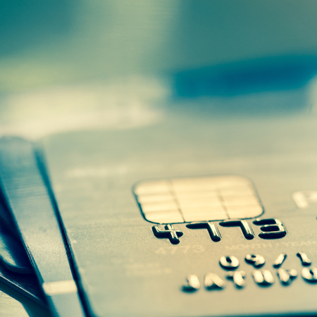 Selective Focus : Close Up Macro Shot With Credit Card. Filtered Process