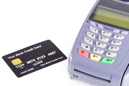 Credit card machine on white background Stock Photo