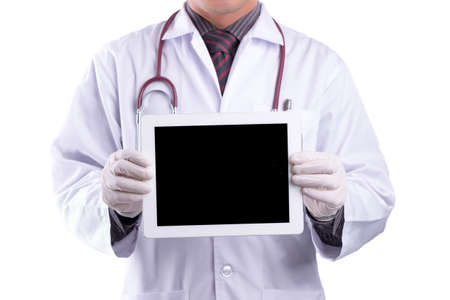 blank tablet: doctor holding blank digital tablet isolated on white background Stock Photo