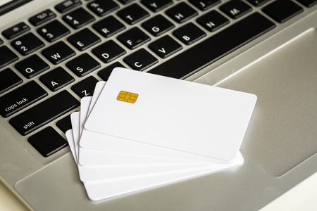 Blank Credit Card With Electronic Chip On Laptop
