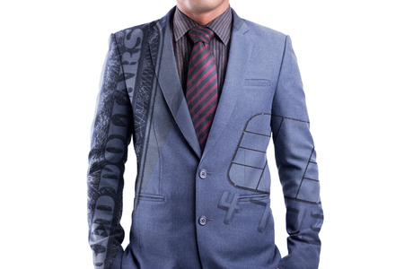 Double exposure cash and credit card on suit, potential buyer concept