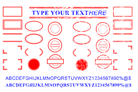 vector template red and blue alphabet, number, percent, dollar, dot, star, rectangle, lines oval circle rubber stamp effect 스톡 콘텐츠