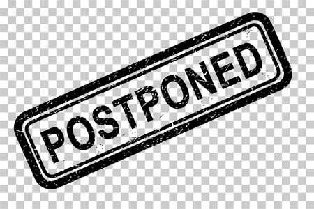 Rectangle Vector Black Grunge Rubber Stamp, Postponed at Transparent effect background
