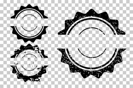 Vector 3 Style Black Blank Circle Rubber Stamp, at transparent effect background