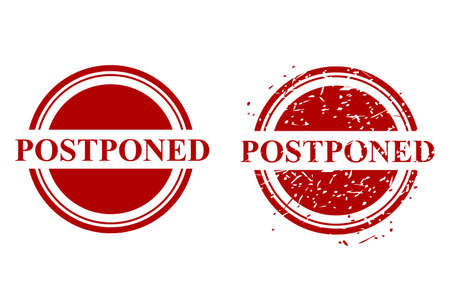 Rusty Circle Vector Red Grunge Rubber Stamp Effect, Postponed