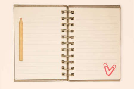 Blank lined notebook with red pencil and a pink paprclip on sides