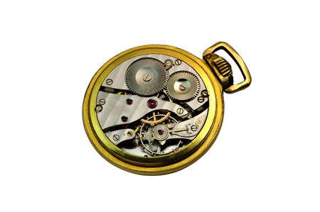 Deatail van een innerlijke mechanisme van een stalen en gouden zakhorloge Stockfoto