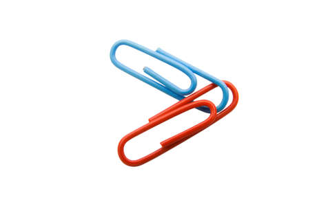Red and blue paperclips connected on the white background