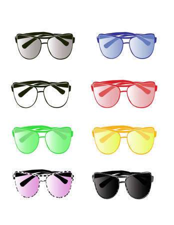Set of eight aviator eyewear of different colors Vector