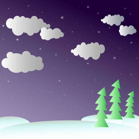 Snow covered landscape with green trees under dark cloudys ky with shiny stars