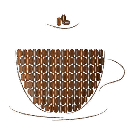 illustration of coffee mug filled with coffee beans of different colors