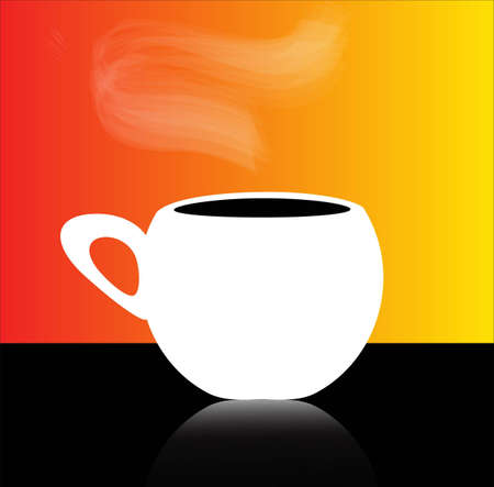 White cup of coffee on the red and yellow background
