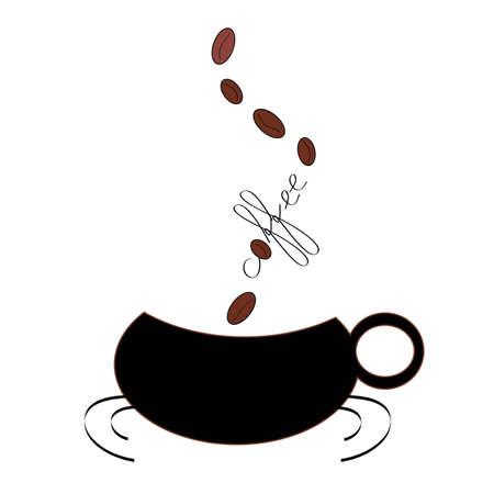 illustratie koffie mok met koffie bonen opkomen van het woord koffie Stock Illustratie