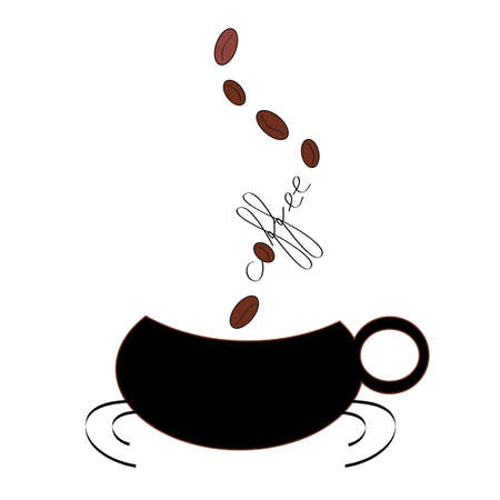 illustration coffee mug with coffee beans ascending from the word coffee