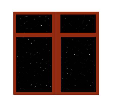 Brown window full of stars on the dark sky