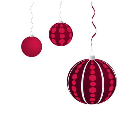 Three violet dotted christmas balls hanging on the grey and violet ribbon Illustration