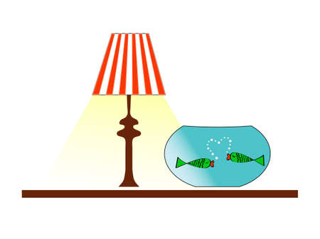 Aquarium with two fish staying under the lamp Illustration