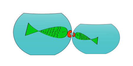Two white aquariums with small and big green fish kissing each other