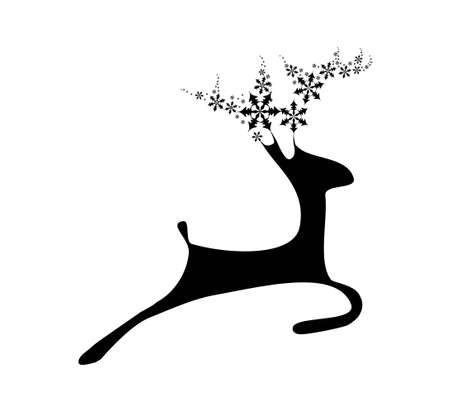 Black deer with flake horns on the white background Vector