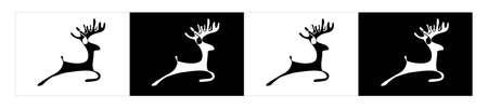 Black and white deer silhouette on the white and black background Stock Vector - 10505197