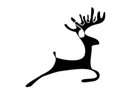 black silhouette of a deer on a white backgound