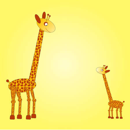big and small: Big giraffe on the left side watching down on the small giraffe at the right side of a yellow background