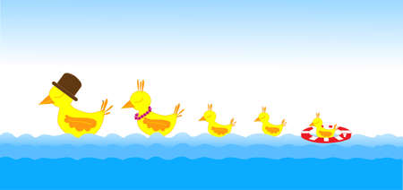 Mother duck, father duck and baby ducks swimming in the sea Vector