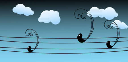 cartoon wedding couple: Three black birds sitting on the electric wires at cloudy afternoon