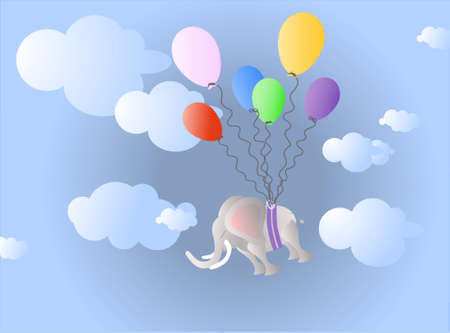 Grey elephant lifted by red, orange, green, blue, violet and pink party balloons to the cloudy sky on the blue background  Vector