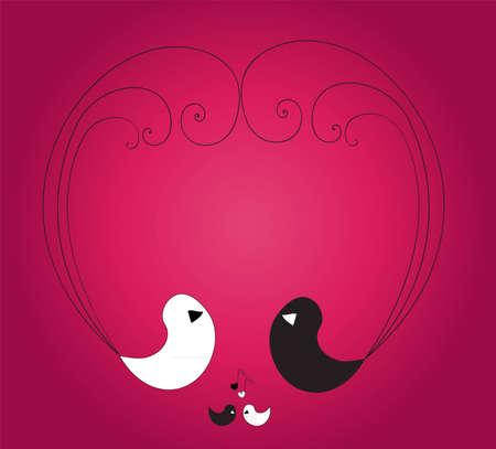 paloma caricatura: Dos grandes aves blanco y negro y dos peque�as aves que forman la forma de un coraz�n con sus plumas