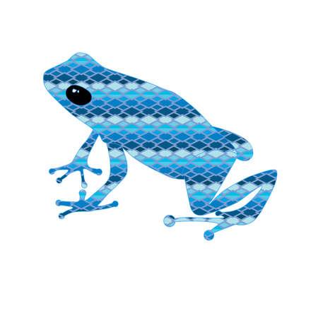 watter: Sitting frog in the blue snake skin Illustration