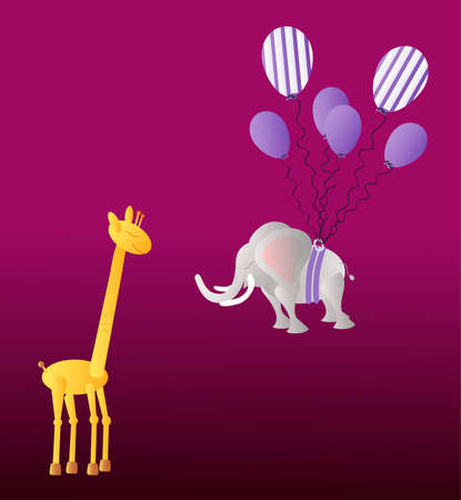 dark purple: Yellow giraffe and big elephant lifted by the party balloons on the dark purple background Illustration